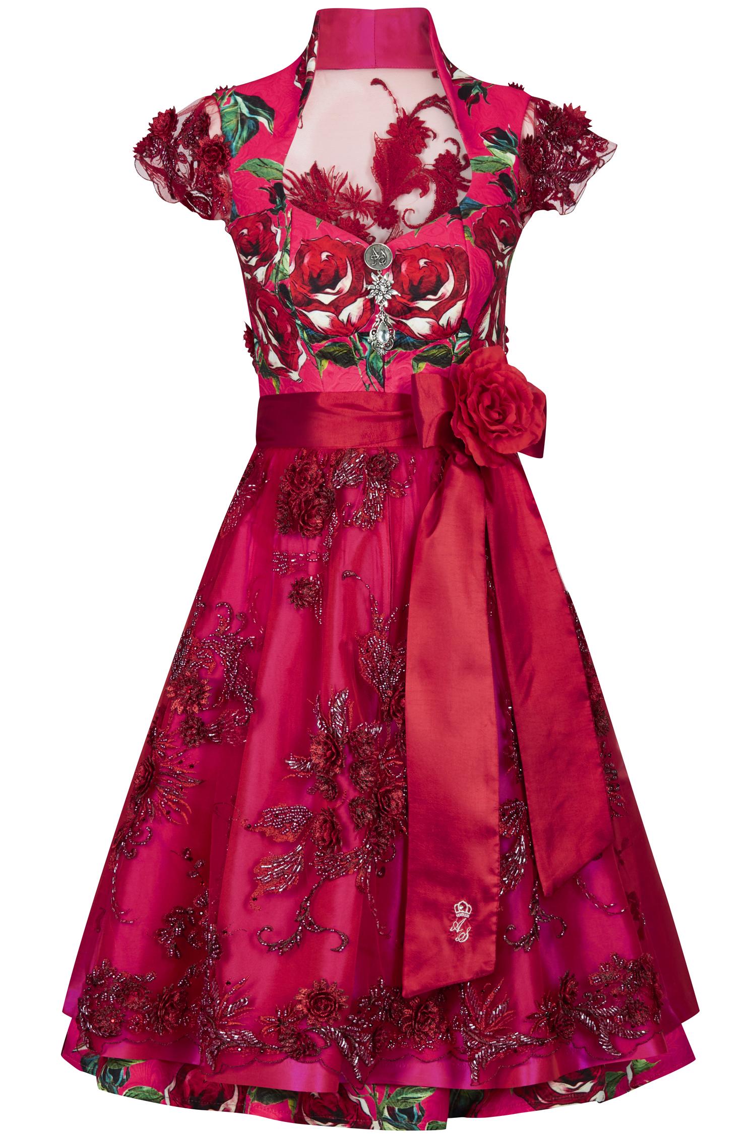 Dirndl Wilde Rose 32 | rot / pink