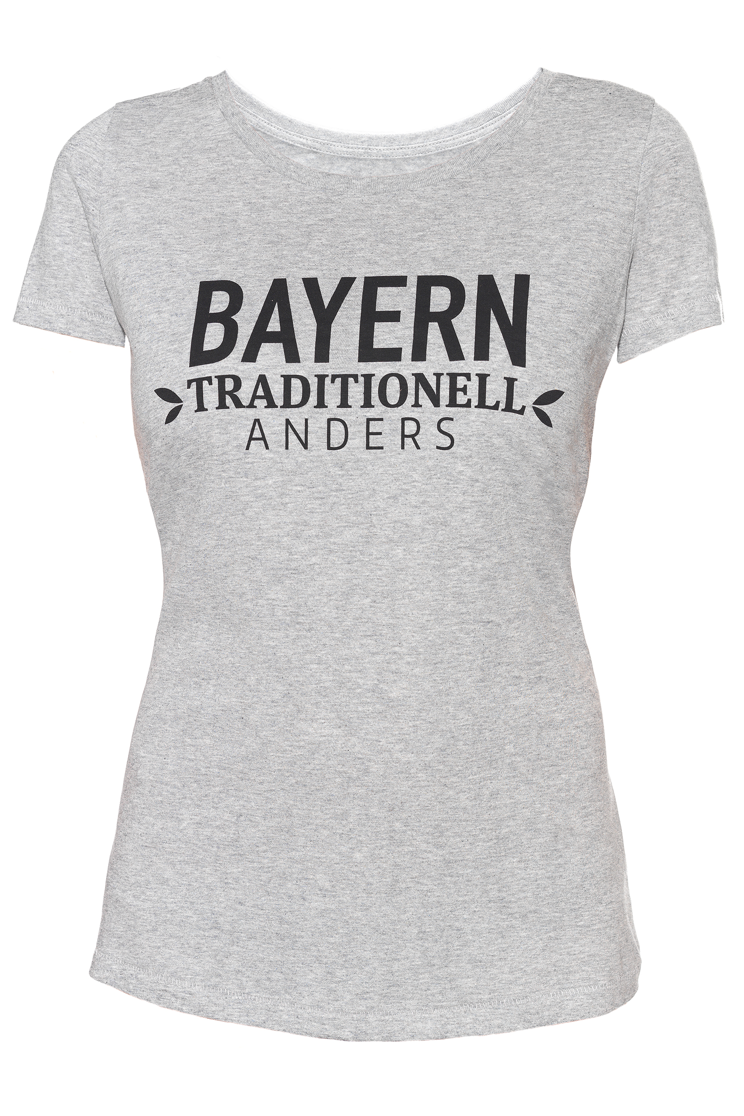 T-Shirt Bayern traditionell anders Damen S | grau / schwarz