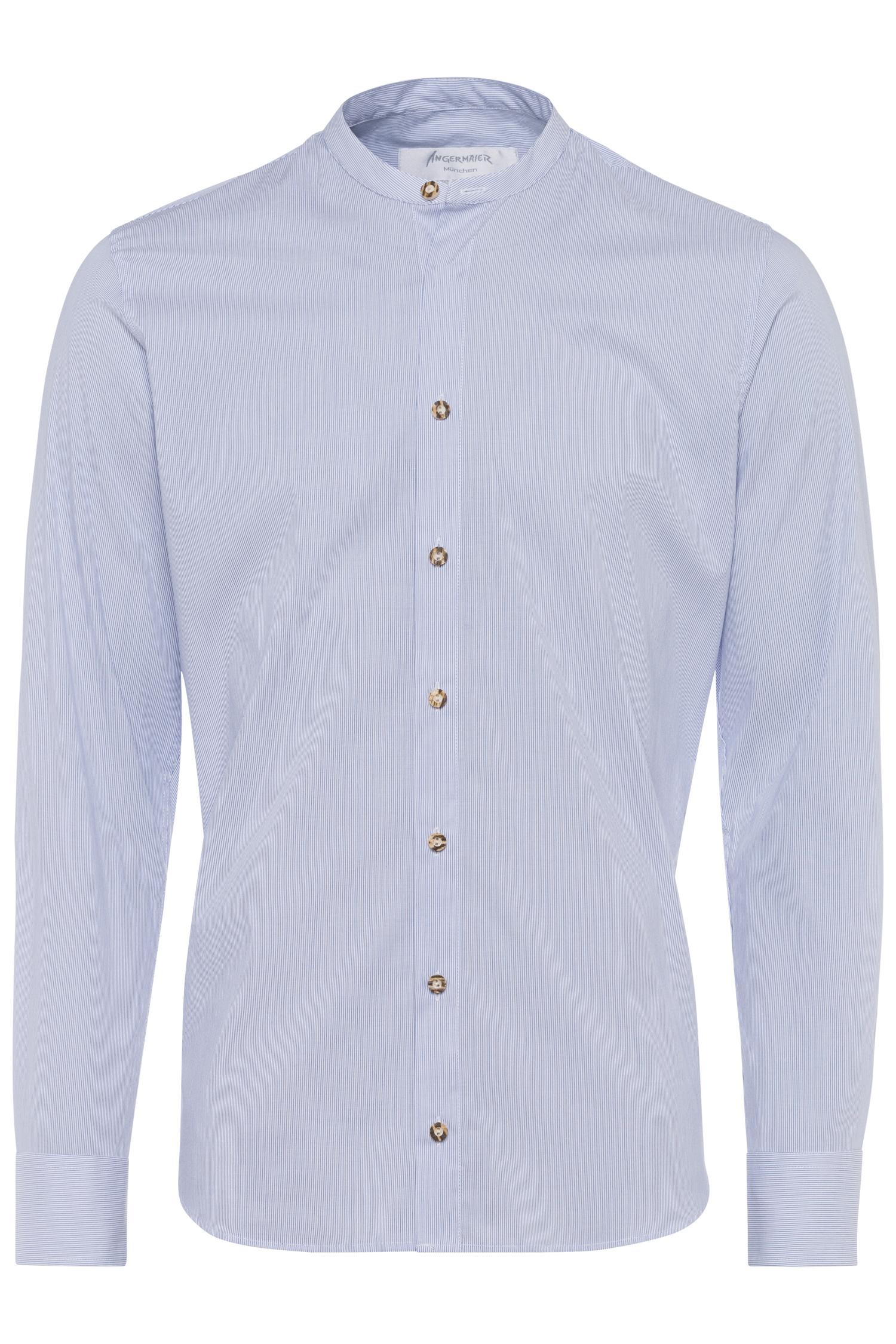 Kragenloses Hemd mit feinen Streifen XXL | blau 1611