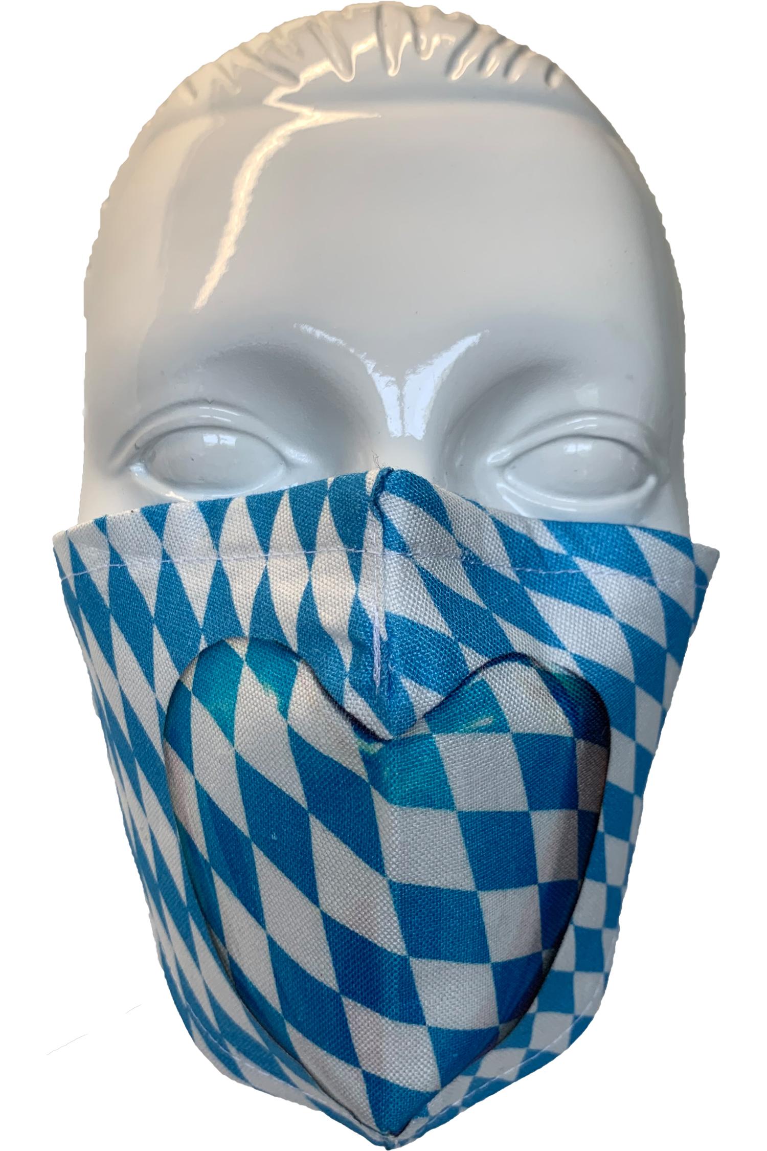 Gesichtsmaske Herz Weiß-Blau *   weiß - blau