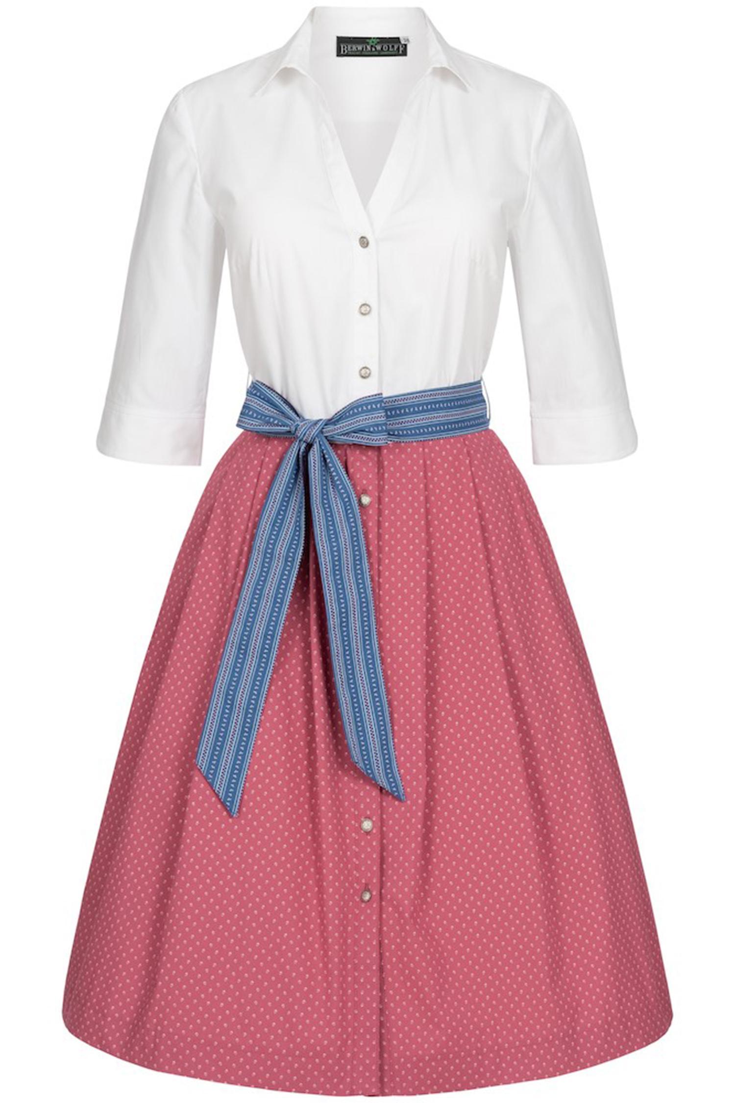 Hemdblusenkleid 34 | weiß / beere / blau