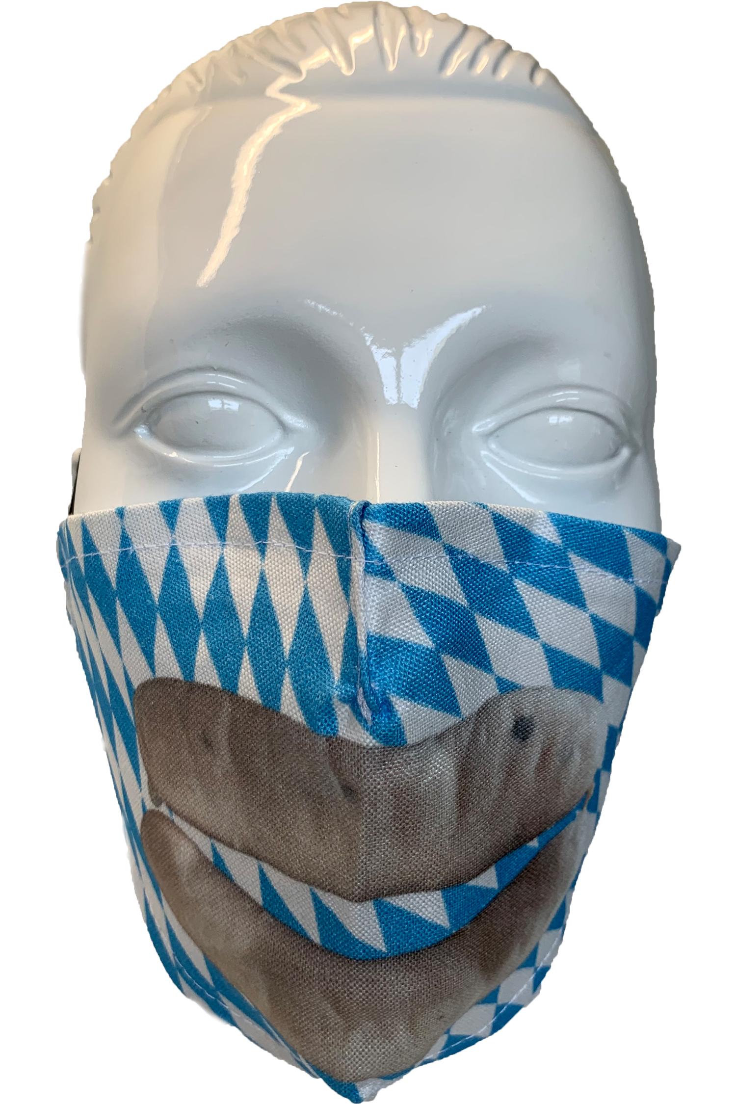 Gesichtsmaske Weißwurst * | weiß - blau