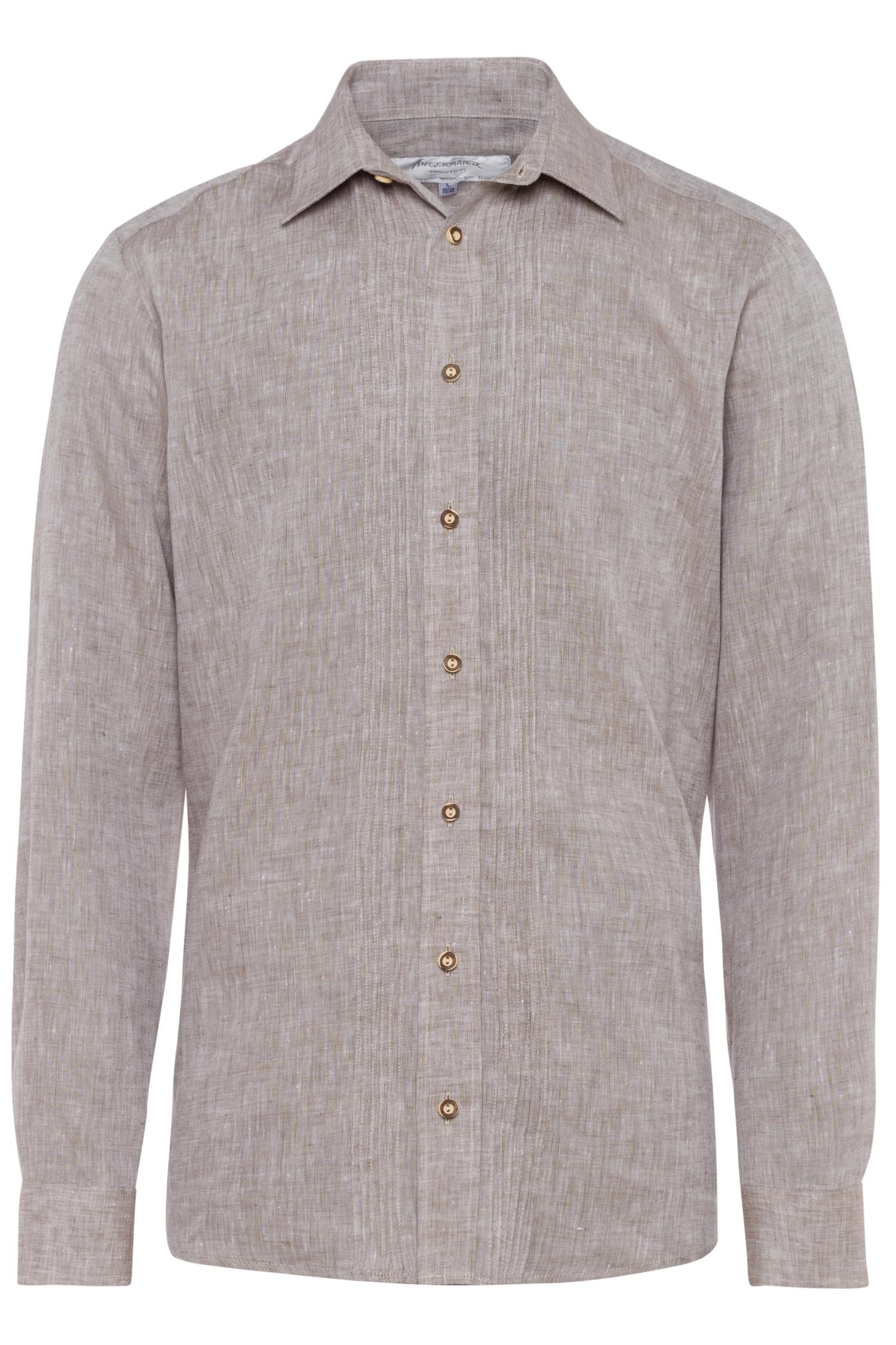 Trachtenhemd Leinen S | braun 4031