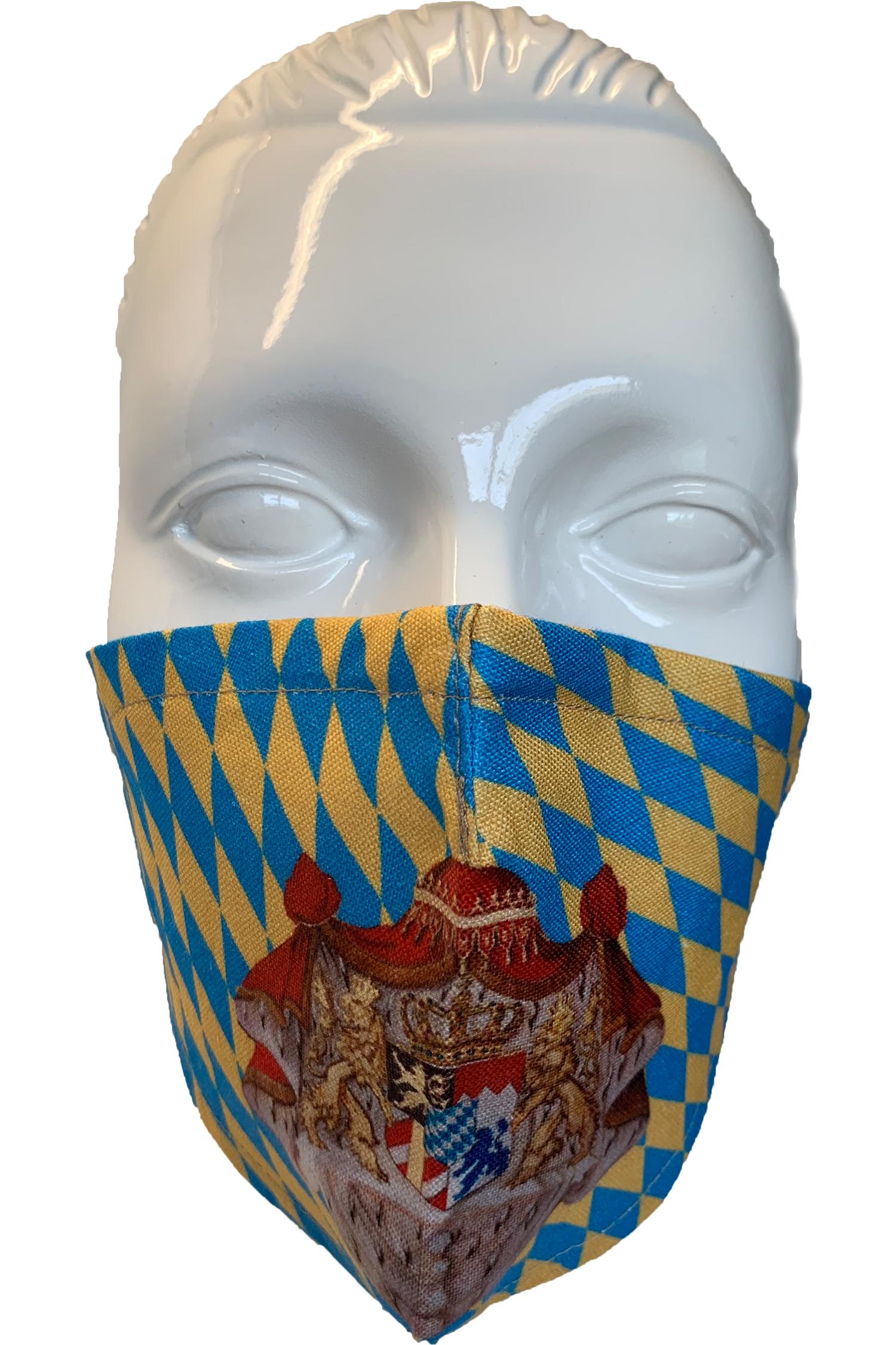 Gesichtsmaske Wappen Königreich Bayern * | beige - blau