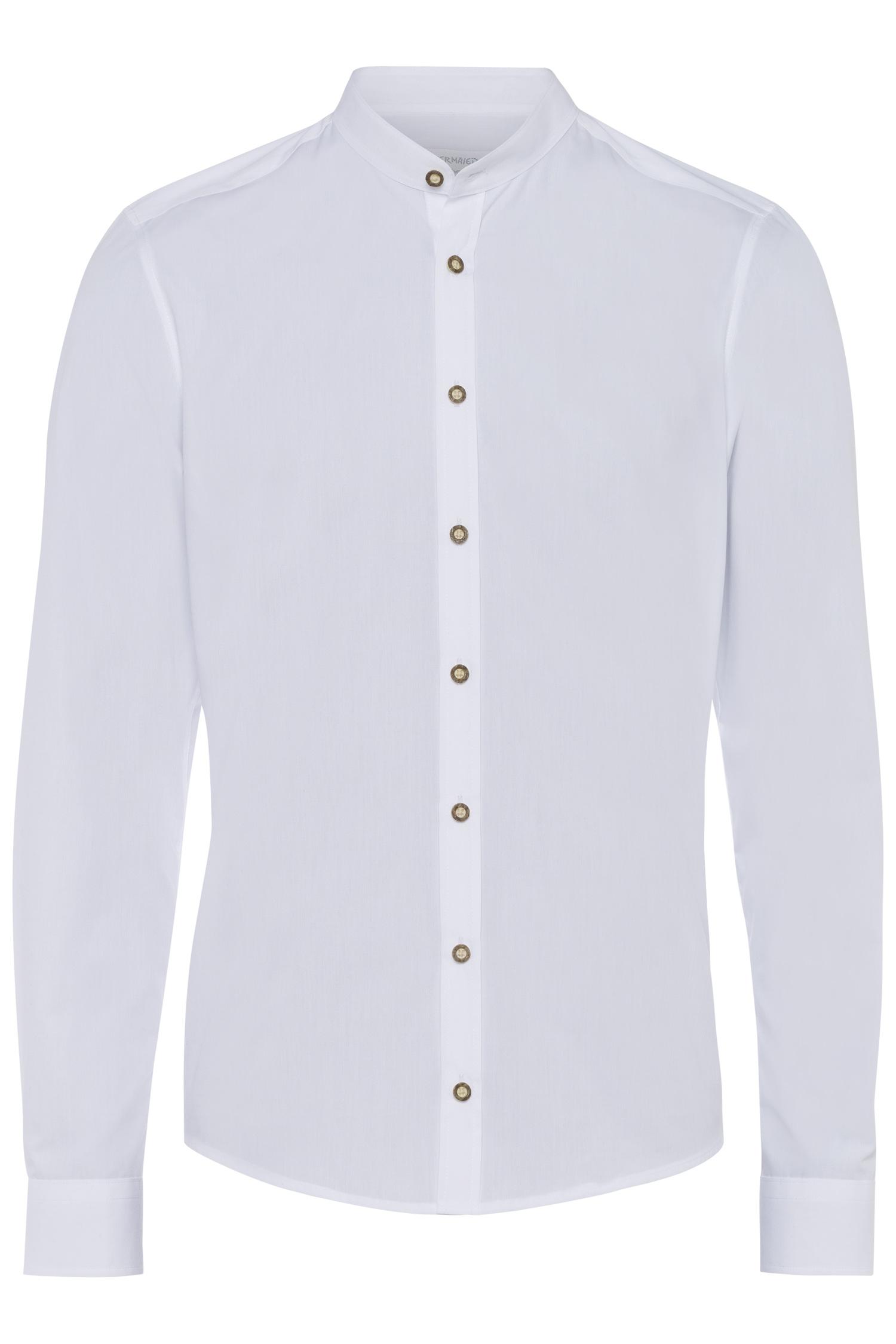 Trachtenhemd Stehkragen weiß M | 900 uni weiß