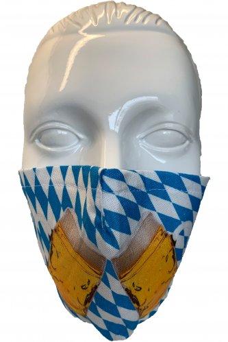 Gesichtsmaske Maßkrüge * | weiß - blau