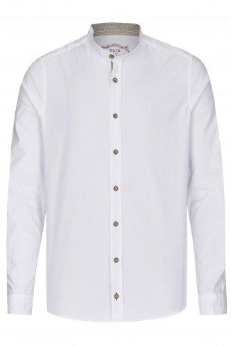 Trachtenhemd Slim-Fit Stehkragen M | weiß 901