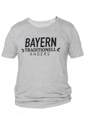 T-Shirt Bayern traditionell anders S | grau / schwarz