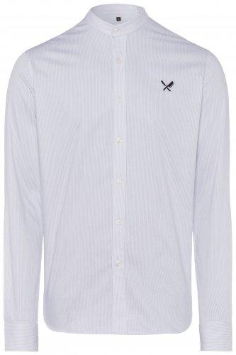 Trachtenhemd Distorted People Streif XXL | weiß / h.grau