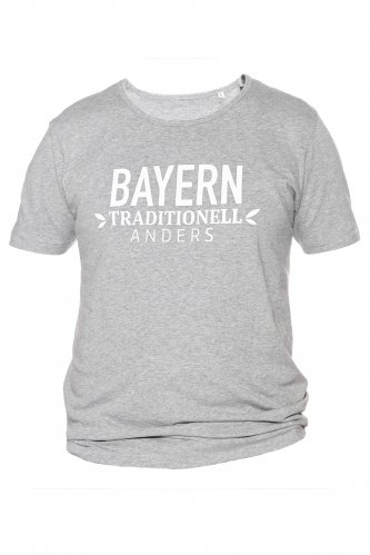 T-Shirt Bayern traditionell anders L | grau / weiß