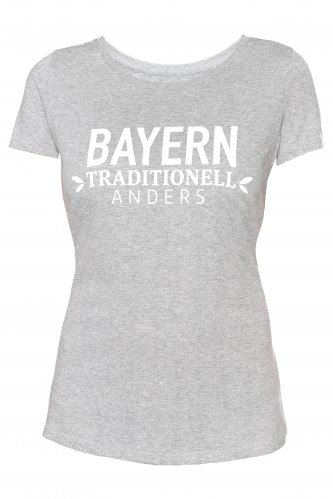 T-Shirt Bayern traditionell anders Damen XS | grau / weiß