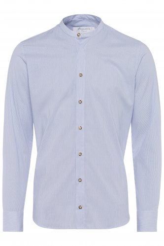 Kragenloses Hemd mit feinen Streifen L | blau 1611