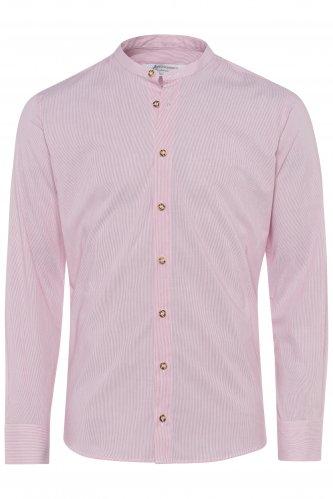Kragenloses Hemd mit feinen Streifen M | rot 2681