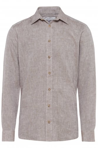 Trachtenhemd Leinen XXL | braun 4031