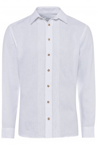 Trachtenhemd Leinen L | weiß 7001